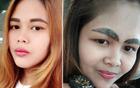 泰国女子纹眉失败