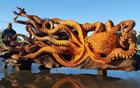 红木巨型章鱼雕刻