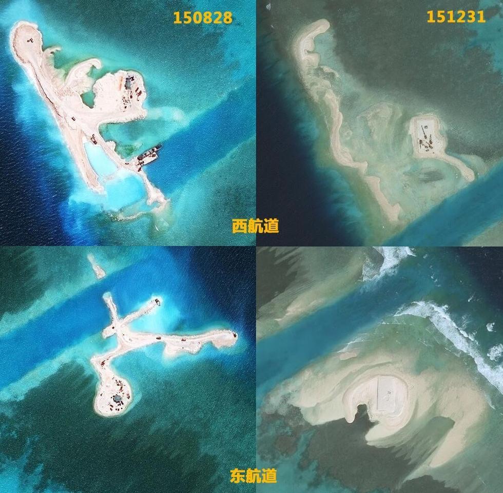 越南在南海非法填海沙地被大浪冲走