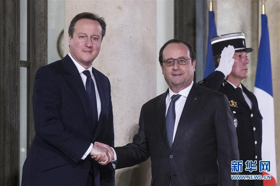 法国总统奥朗德会见英国首相卡梅伦