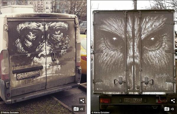 尘上作画:莫斯科街头肮脏汽车变身艺术品