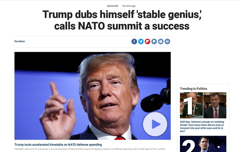 """北约峰会上,特朗普随心所欲的对记者说,""""我表里如一,是个稳定的天才"""""""