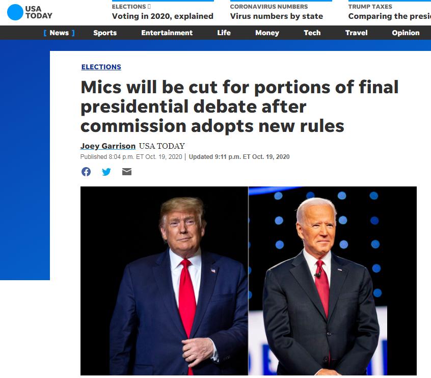 "<b>最新!美总统第二场辩论修改规则:一人发言时另一人将被""静音""</b>"