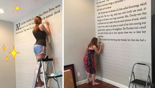 《哈利波特》粉丝花60小时 把书中内容抄墙上