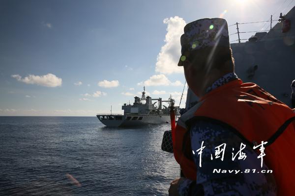 南海舰队远海训练编队补给演练防海空突袭