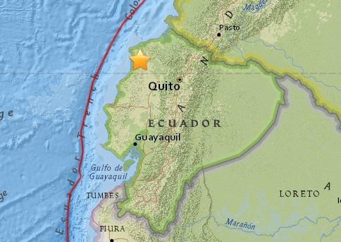 厄瓜多尔沿海发生6.7级地震 不会形成破坏性海啸