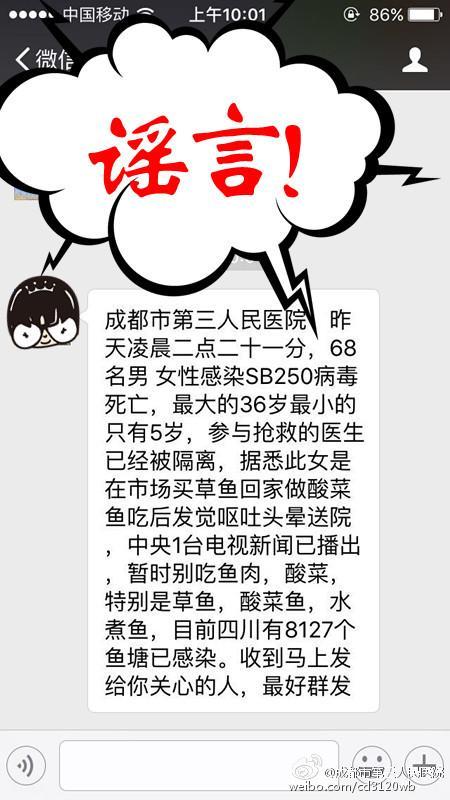 """网传成都68人感染""""SB250病毒""""死亡 医院辟谣"""