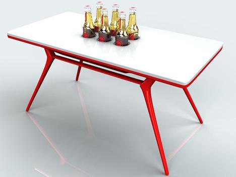 桌子中间的凹槽可以放下普通的啤酒瓶,四周还有用来挂毛巾的横杆,值得图片