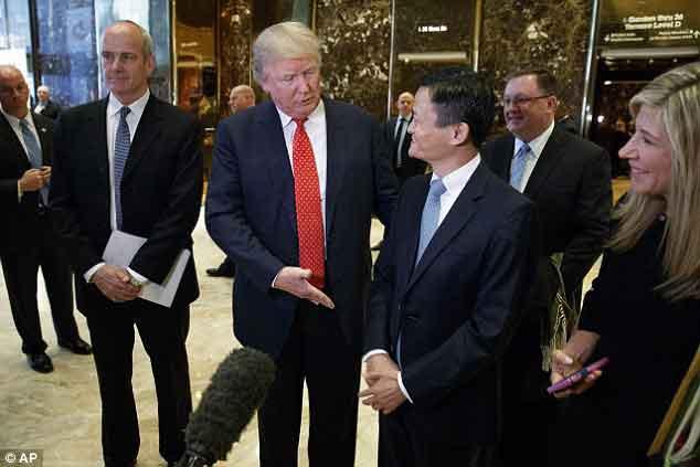特朗普会见马云 阿里巴巴将为美创造100万就业机会