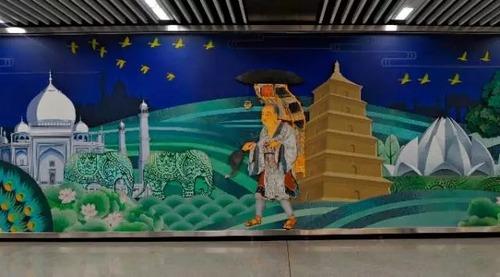 西安地铁壁画乌龙