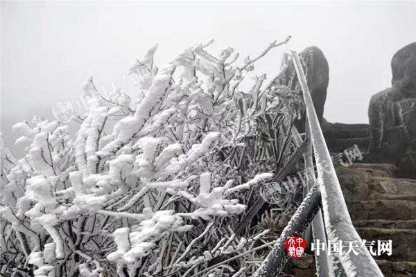 冷空气过境,广东连山金子山挂冰.(摄影:金子山风景区工作人员)