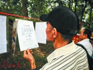 老人在公园相亲角查看资料。