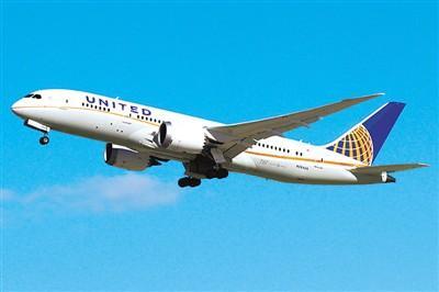 图为美国联合航空公司客机.