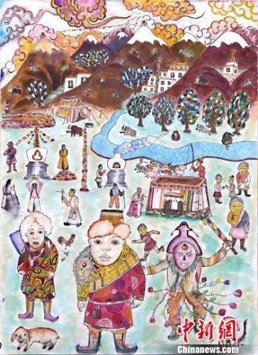 童 静之美 拉萨特校儿童60余幅画作在林芝展出