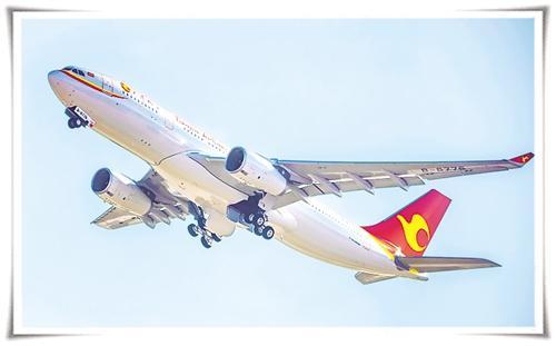 图为天津航空a330飞机. 本报记者 周明阳摄