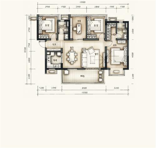 南宁万科经典四房户型解析 约108平方米建筑面积