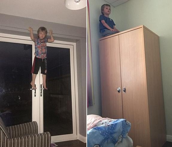 """6岁""""蜘蛛男孩复古传奇金币服""""痴迷于攀爬__能在几秒钟内上树"""