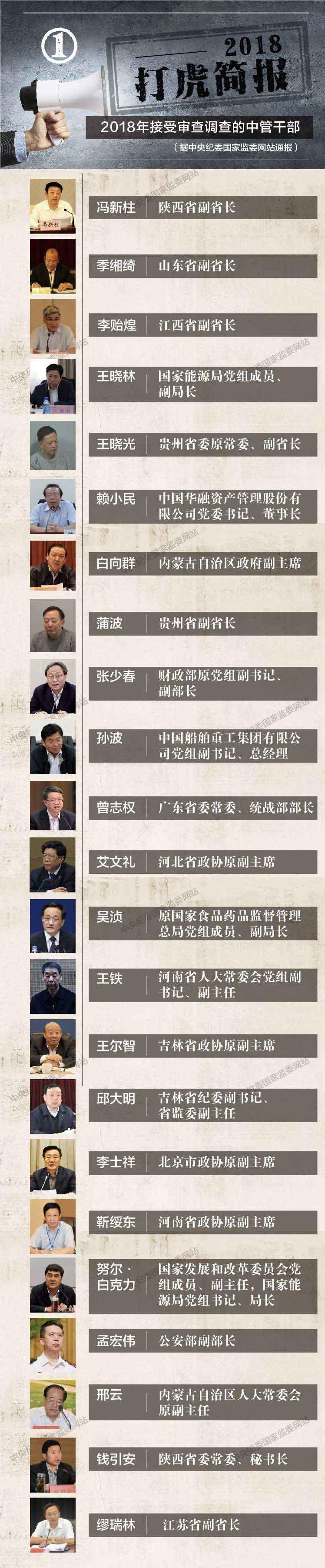 """2018""""打虎""""简报公布 23名中管干部接受审查调查"""