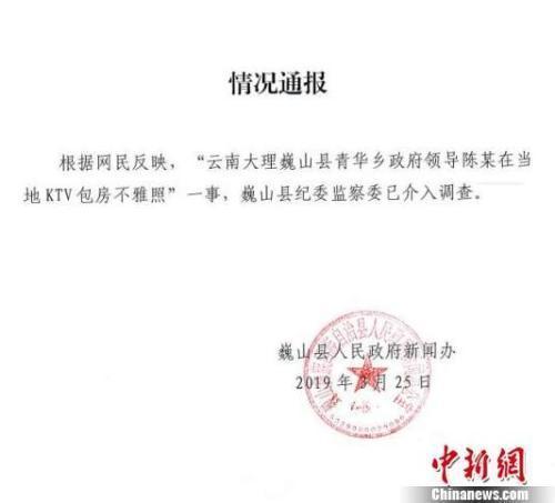 图为通报截图。 巍山县人民政府新闻办提供