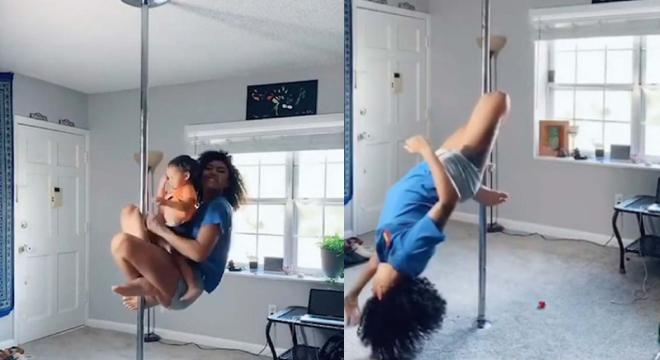 18个月大男孩与妈妈一起跳钢管舞