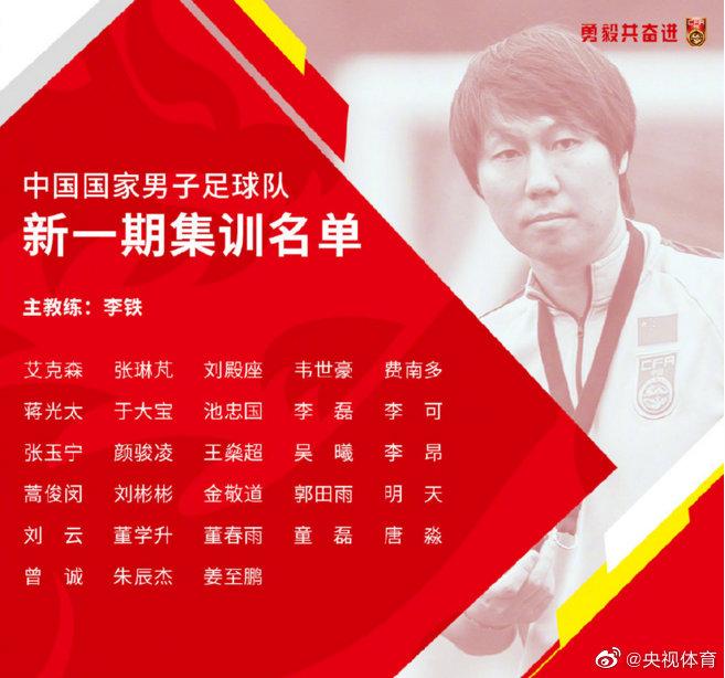 国足最新集训名单公布,归化球员蒋光太、费南多入选