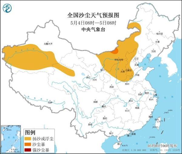 沙尘暴蓝色预警 全国5省区部分地区有扬沙或浮尘