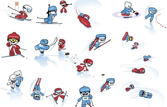 它们象征着冬季奥运会项目中不可缺少的两种元素——雪和冰.
