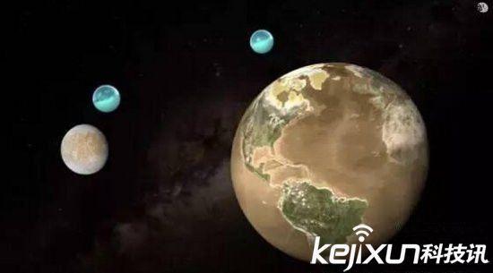 木星的木卫二(左)体积仅有地球的四分之一