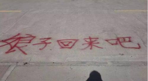 """高校男生高调求和 挂横幅、地面喷漆""""娘子回来吧"""""""