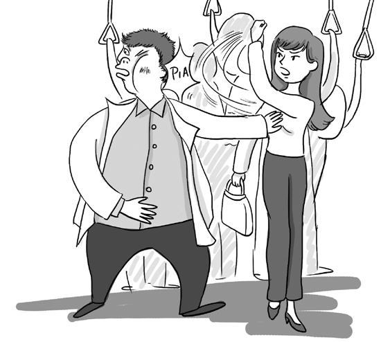女子公交车上遇咸猪手 将猥琐男从车中间打到车尾