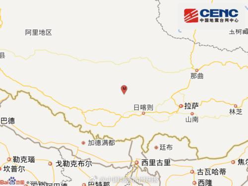 西藏日喀则谢通门发生4.8级地震 震源深度5千米