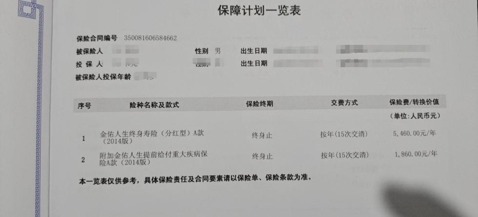 康涛当时购买的保险险种