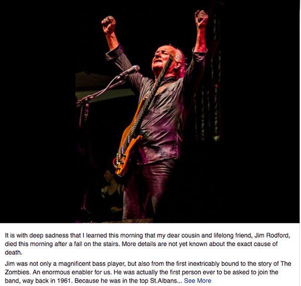 奇想乐队贝斯手意外身亡,享年76岁